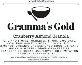 3oz Snack Pack of Gramma's Gold Premium Granola - Cranberry Almond  (1.5 servings)