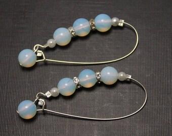 White Opal Earrings, Minimalistic Earrings, October Opal Moonstone Earrings