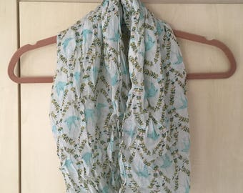 Bird and Flower Patterned Scarf