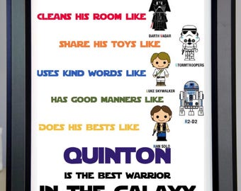 Star Wars, Darth Vader, Han, Luke Skywalker, R2D2 for wall display homw decor wall art for kids room birthday gift