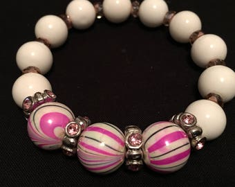 Pink and White Beaded Elastic Bracelet