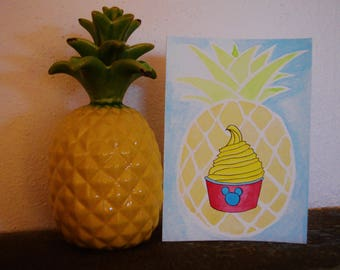 Pineapple Dole Whip watercolor