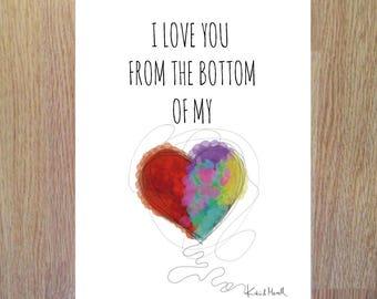 Tarjeta San Valentin, tarjeta para imprimir, corazon, I love you, bottom of my heart, descarga pdf, instant download, tarjeta descargable