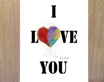 Tarjeta San Valentin, tarjeta para imprimir, corazon, I love you, heart, descarga pdf, instant download, tarjeta descargable