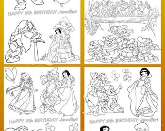 Coloring activity sheets. SnowWhite coloring sheets for boysand girls.INSTANT DOWNLOAD