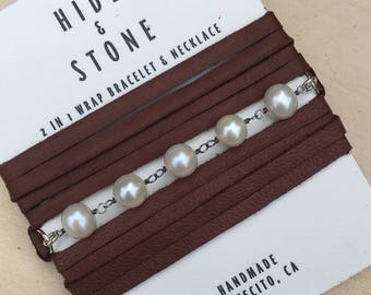 Pearl  Leather and Gemstone Wrap Bracelet/Necklace