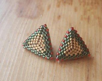 Beaded triangle studded earrings