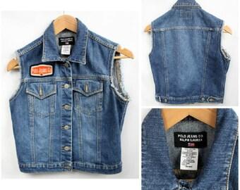 Vintage Jean Vest, Vintage Polo Ralph Lauren Vest, Vintage Denim Vest, Women's Denim Vest, Vintage Ralph Lauren Vest, Vintage Grunge Vest