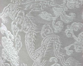 Chinese brocade satin fabric material white dragon on white embroidered by the 0.5 YARDS, Yards Meters cbs 76
