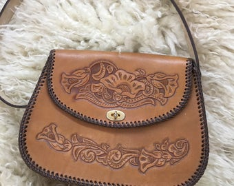 Beautiful vintage tooled leather purse handbag