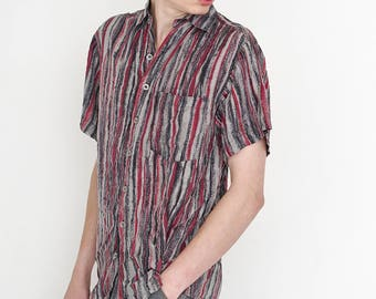 VINTAGE Colourful CARLETTI  Striped Short Sleeve Button Downs Retro Shirt