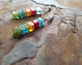 Cute millefiori dangle earrings sterling silver shepherd hooks Gift boxed Valentines Gift
