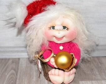 Interior doll Santa.Textile, collectible doll.Holiday Christmas New Year