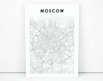 Moscow Map Print, Russia Map Art Poster, City Street Road Map Print, Nursery Room Wall Office Decor, Printable Map