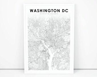 Washington dc map Etsy