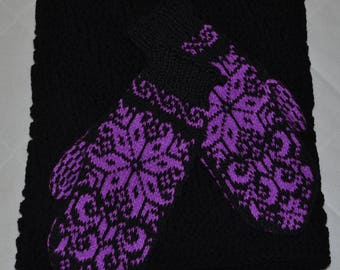 Hand knitted black and violet women scarf with gloves-Gift for her-Women gift-Birthday gift-Warm-Soft-Set-Knit accessories