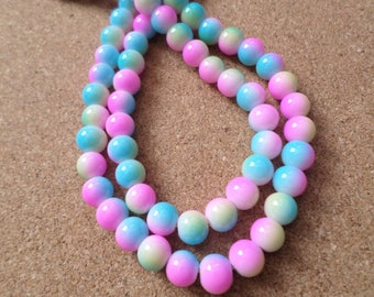 8mm Rainbow glass beads, Rainbow beads, Rainbow, Pastel rainbow, Glass beads, Round beads, Jewellery making, Crafts, Beads