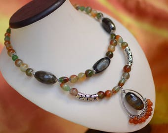 "Necklace - choker agate and carnelian ""Brazil"""