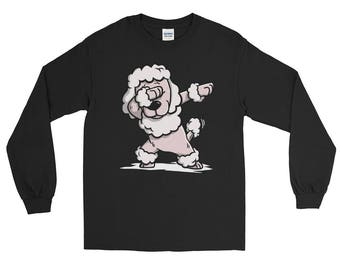 Cute Dabbing Poodle Dog Long Sleeve T-Shirt Funny Dab Dance Gift