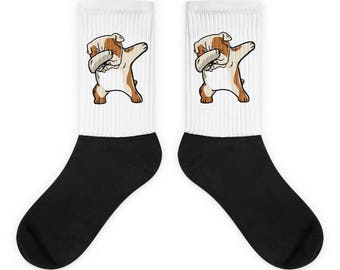 Funny Dabbing English Bulldog Socks, Cute English Bulldog Gift, Bulldog Dog Dab Dance Print