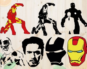 Iron Man Svg, IronMan Cutfiles: Svg, Dxf, Eps, Png files,Layered Iron Man svg for Cricut, Silhouette cameo. Tony Stark silhouette vector