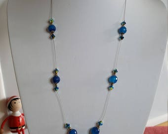 Blue Swarovski elements necklace