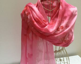 Silk Scarf, Scarf, hand painted scarf, silk, hand painted silk, long scarf,scarves, gift for mum, large scarf, mother gift, bridal scarf