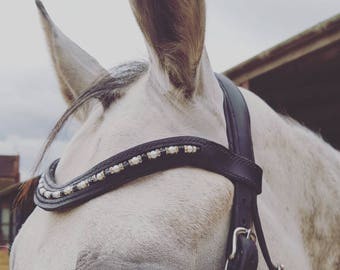 Handmade beaded browband with pearl style beads