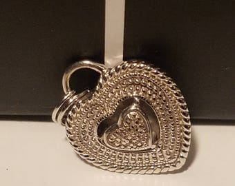 Vintage 925 Sterling Silver Heart Necklace~Silver Heart Necklace~Vintage Heart Necklace~Vintage Heart Jewlery~Two Hearts Sterling Silver~