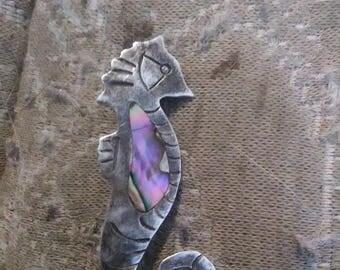Vintage abalone seahorse pin