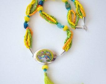 Cloisonné Enamel Pendant, Fine Silver Pendant, Colorful Necklace, Long Tassel Beaded Necklace Sotuar