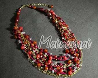 Gifts for her, multiwire crochet necklace in cotton with carnelian, agate and crystals
