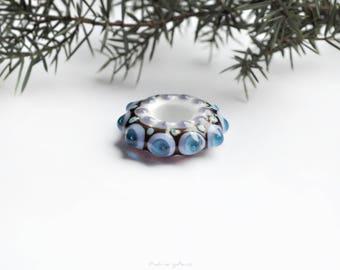 Blue glass star,  lampwork pendant, glass pendant, holiday decorations, mandala pendant