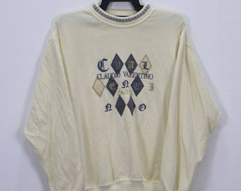 Vintage Claudio Valentino Paris Big Logo Embroidery Spellout Crew Neck Sweatshirts size Large