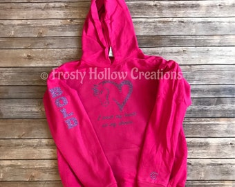 "YOUTH GLITTER ""I wear my heart on my sleeve"" hooded sweatshirt with horses name hoodie, horse, equestrian, personalized"