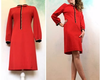 60s  Mod dress, Twiggy  Style, Red Party dress, Long sleeves Knee length Midi, Retro cool vintage fashion
