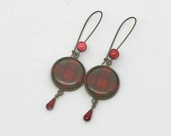 Earrings red Tartan