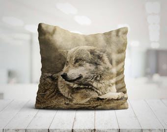 TERRA Wolf Best Pillow Gifts, 18x18 Wolf Throw Pillow, Wolf Gift, Wolf Cushion, Animal Pillow, Wolf Pillow Cover, Wolf Decor