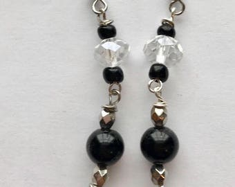 Black and Silver Dangle Earrings, Black and Clear Dangle Earrings, Beaded Dangle Earrings, Silver and Black Earrings