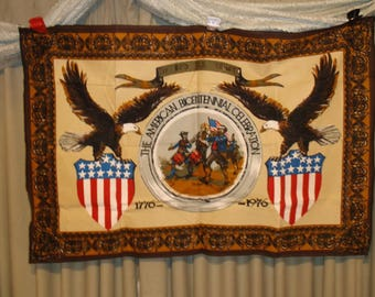 1976 Vintage Bicentennial Celebration wall tapestry Been foldered and put away since 1976