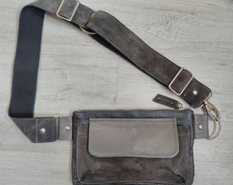 Leather women's belt bag, Fanny Pack, Leather Fanny Pack, Waist Bag, Belt Bag, Hip Bag, Gray leather belt bag, Leather Waist Bag,Modern bag