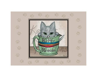 "Kitty Kream: Kitty Kafe Collection, 8"" x 10""  print, landscape, self-matted to 5x7, original mixed media"