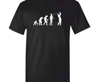 Evolution Of The GOLF Tshirt - Mens Black Golfing Golfer T Shirt