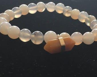 Beaded Earthtone Bracelet with Gemstone Charm