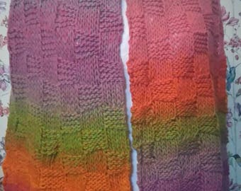 Hand knitted scarf, pastel rainbow coloured wool. Unique.