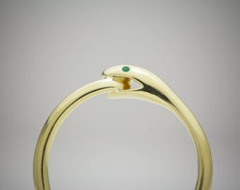 14K Solid Yellow Gold Snake Ring