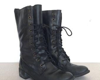 Woman's Vintage Black Leather Combat Boots, Size 6.5