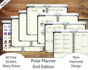 Polar Planner 2nd Edition for GoodNotes with functioning Index tabs (iPad) : 2018/19 Monday Start for UK