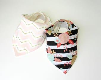 Bamboo bandana bibs-Baby girl bibs-Bandana scarf bibs-Floral baby girl bib-Baby girl shower gift-Bandana bibs