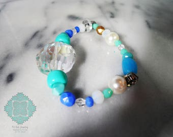Stackable Stretch Elastic Bracelet|Clear Crystal Jewelry|Christmas Gift for her|Turquoise|Czech Glass|Swarovski Crystal Jewellery|Tear Drop|